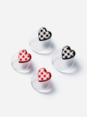 [A PRECIOUS MOMENT] GRAIN DE BEAUTE  GINGHAM CHECK HEART EARRINGS