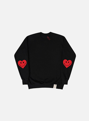 GRAVER ELBOW HEART CLIP SWEATSHIRT BLACK